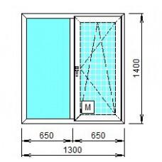 Окно пластиковое двухстворчатое Grain, KBE 70мм.