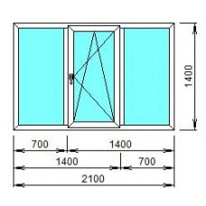 Окно пластиковое трёхстворчатое Grain, KBE 70мм.