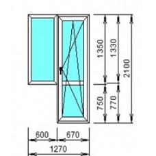 Окно с балконной дверью Grain, KBE 70мм.